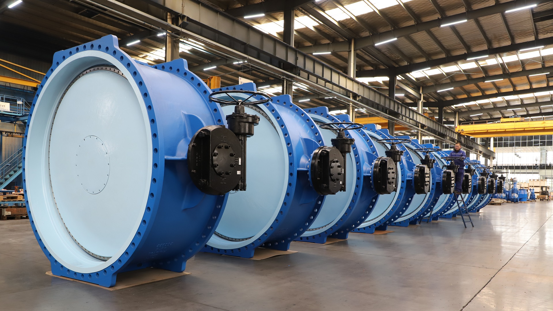 AVK butterfly valves in a row in the Anhui facilities