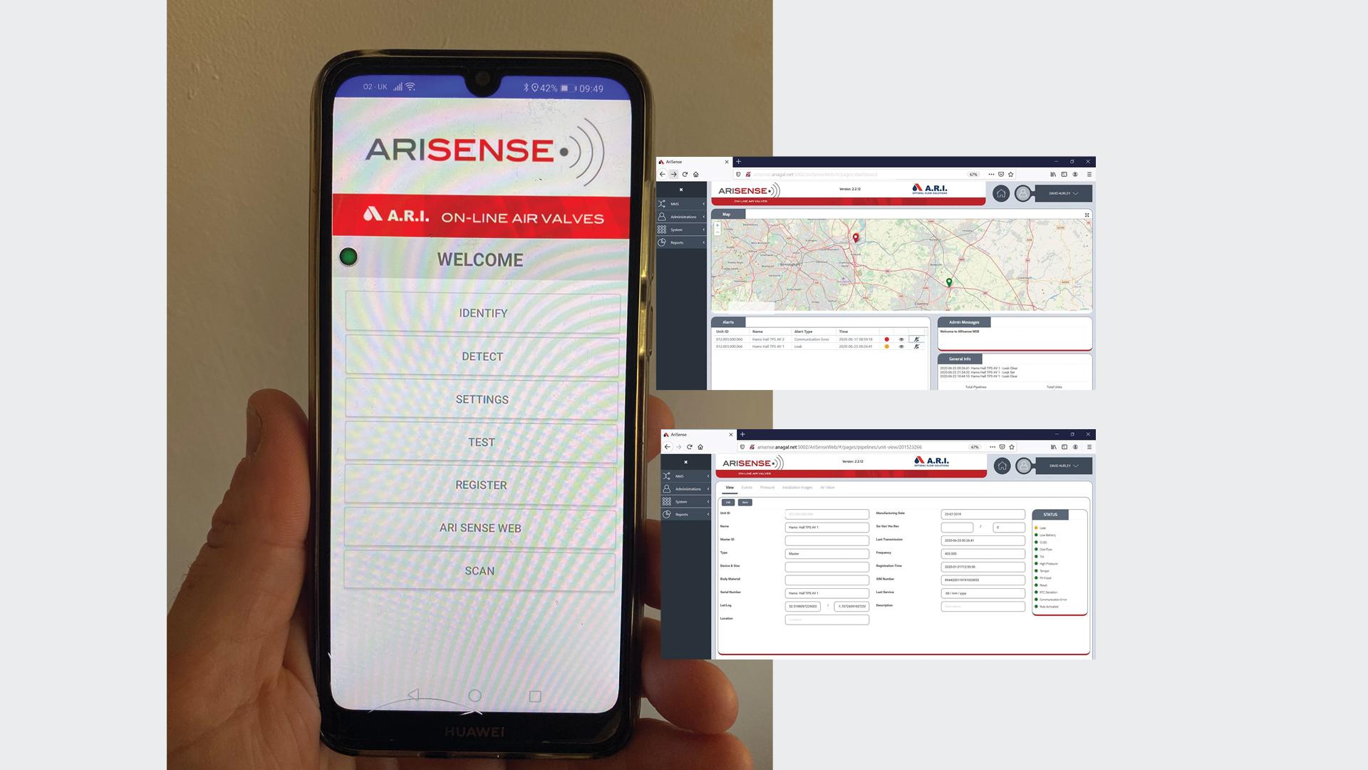 Bottom Image left - scada  data on mobile